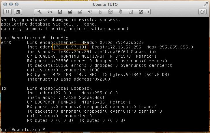 Adresse IP de la VM