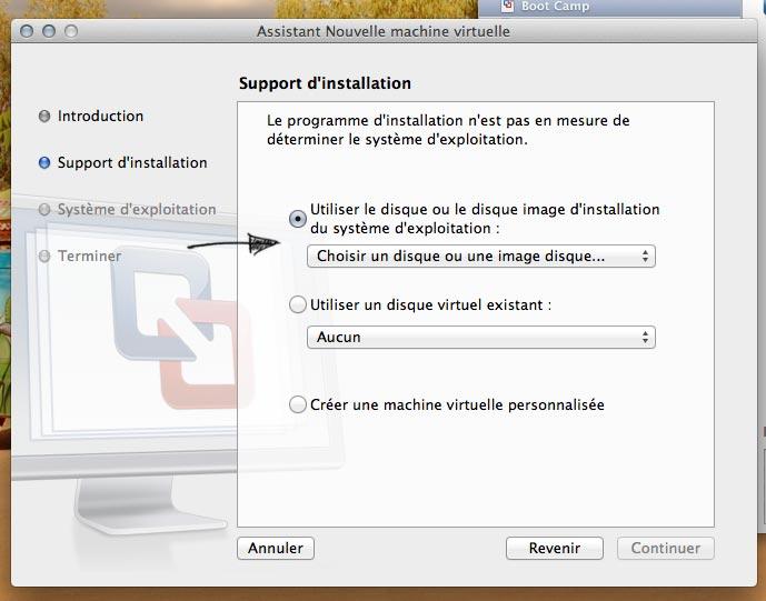 Choix de l'image disque pour installation Machine Virtuelle