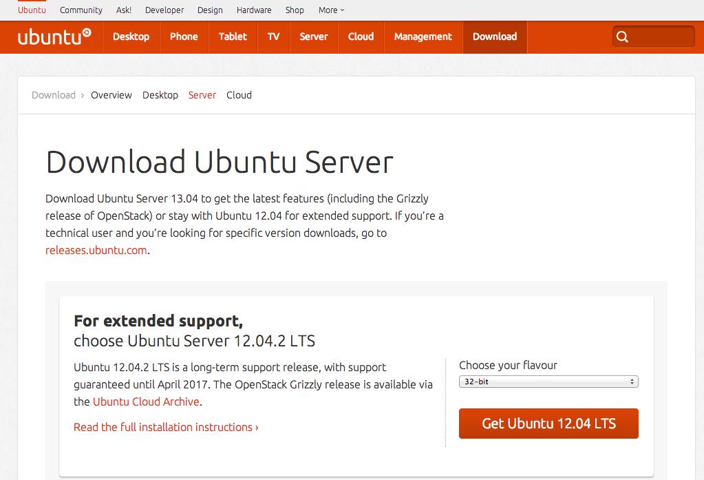 Copie d'écran de la page de téléchargement d'Ubuntu